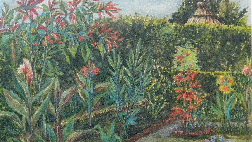 Photograph of watercolor painting of the garden in Tengeru. This image appears in greyscale in the book.