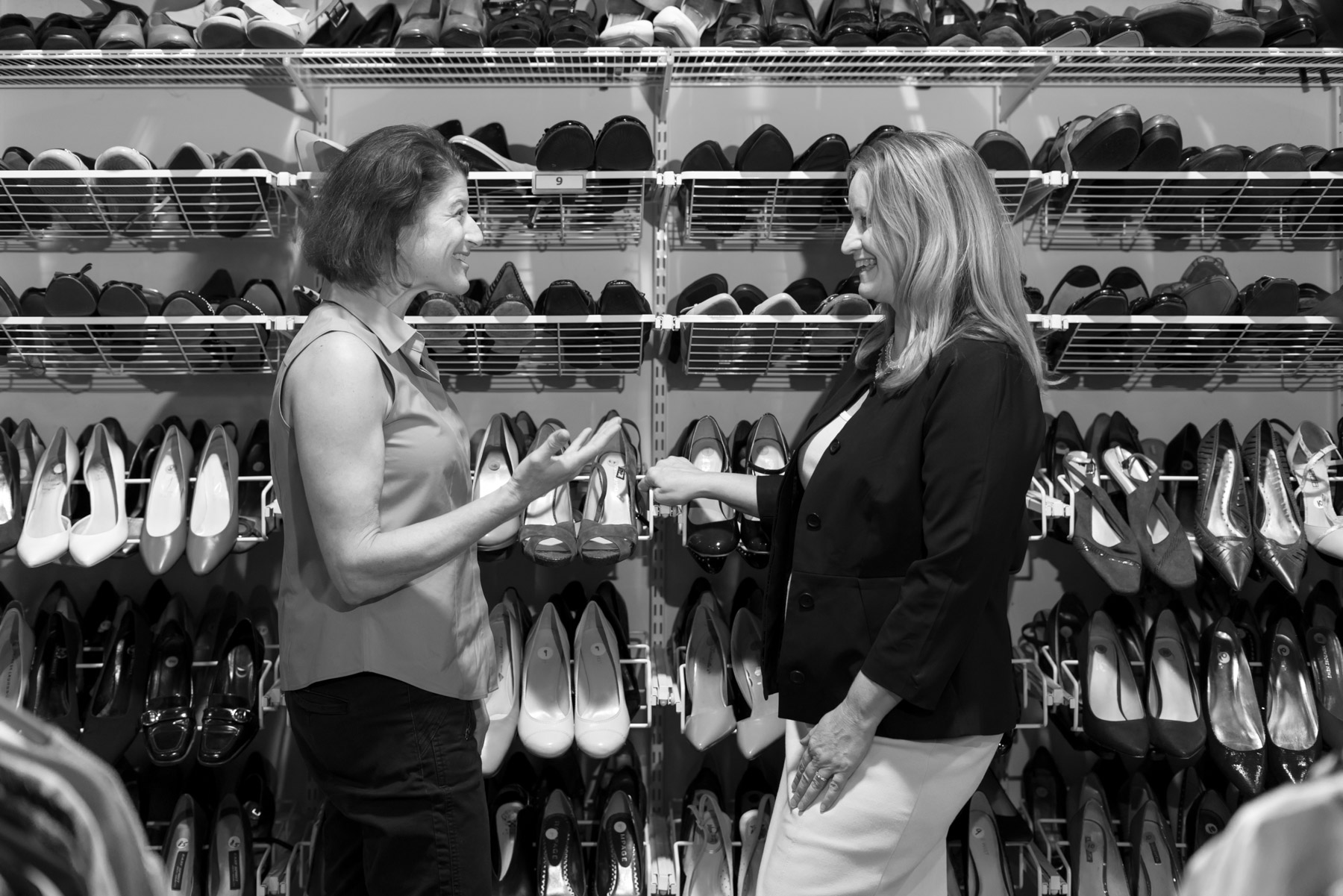 """Along with the foundations, grants, and businesses in town who support Dress For Success, they also have an impressive 300 volunteer staff that serve as the backbone of the organization. """"We are so lucky, we have so many different people in the community who want to help us. Obviously, just a portion of those are coming in to help but there are so many others who are mentoring clients offsite. We have life coaches, speakers who come in, and different women's groups who will perform donation drives or have clients at their place of business for interview practice… It's just a huge, huge volunteer workforce. And they're the ones who actually do the one-on-one work with the clients. So we obviously could not do it without the volunteers."""""""