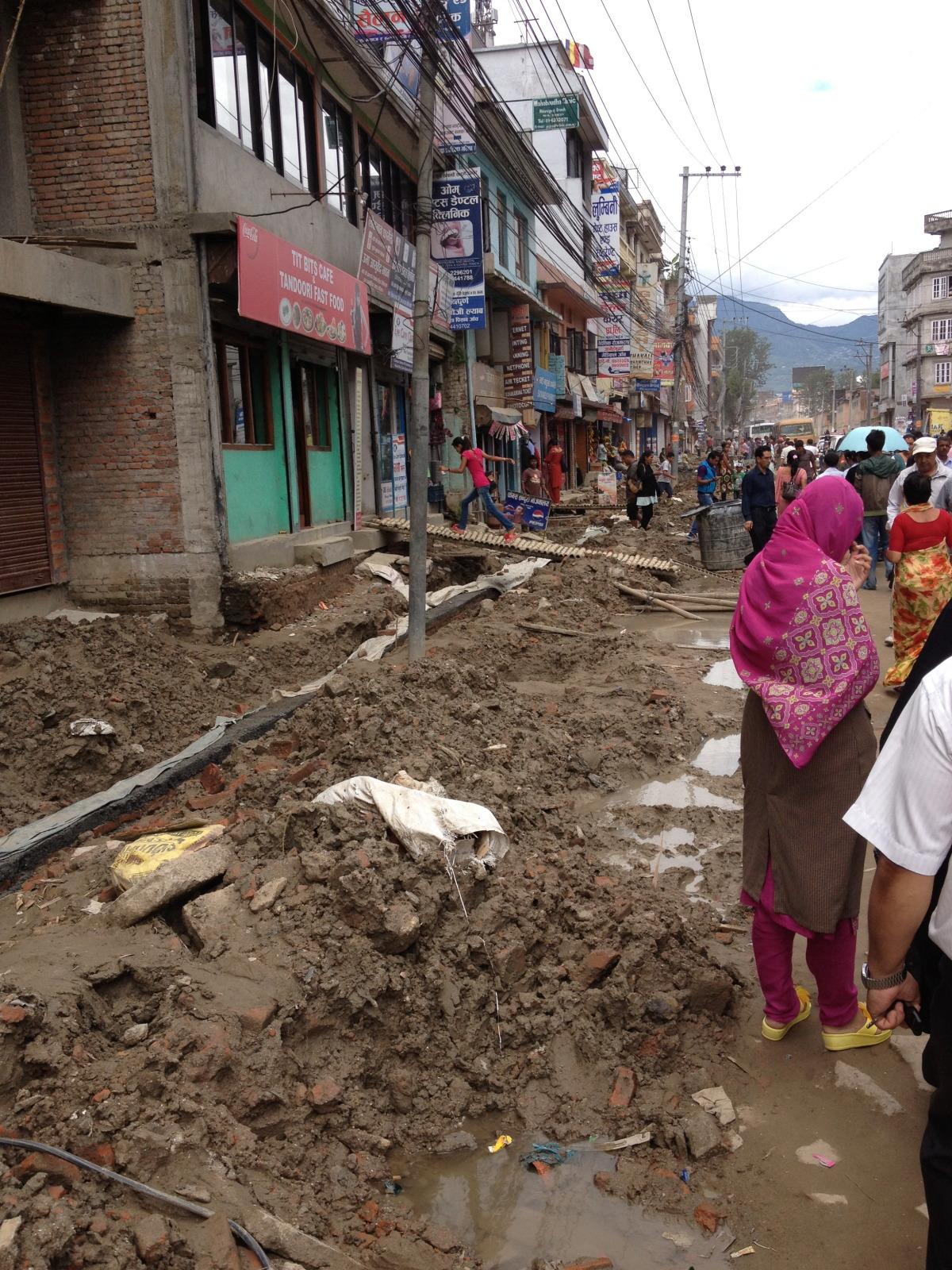 Torn up streets and sidewalks throughout Kathmandu