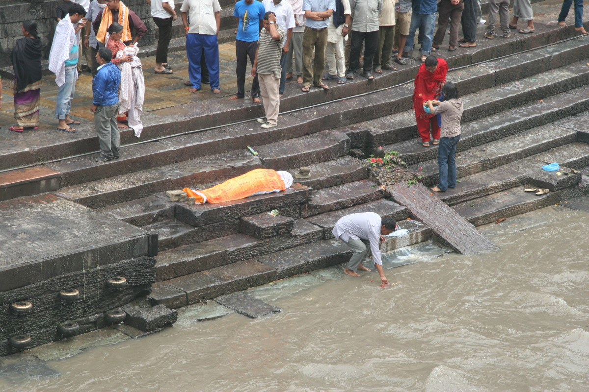 Cremation preparation site adjacent to ghat
