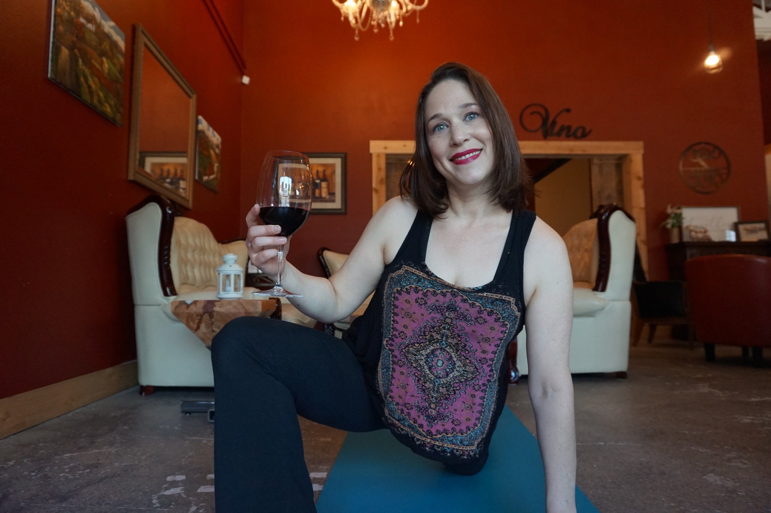 yoga and wine, vino and vinyasa, salud wine bar, camas, yoga and vino