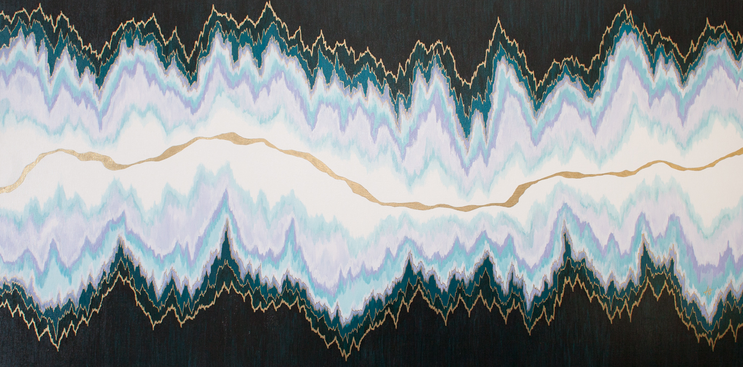 """CRACK IN LAVENDER    acrylic on canvas    Size:  24"""" x 48"""""""
