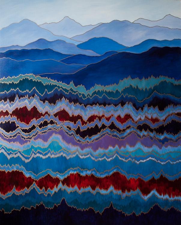 """MOUNTAIN PULSE    acrylic on canvas    Size:  48"""" x 60"""""""