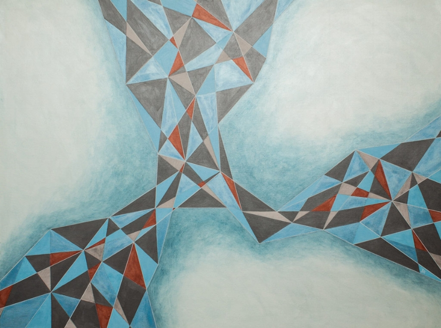 "MECHANICAL BLUE    acrylic on canvas    Size: 36"" x 60"""