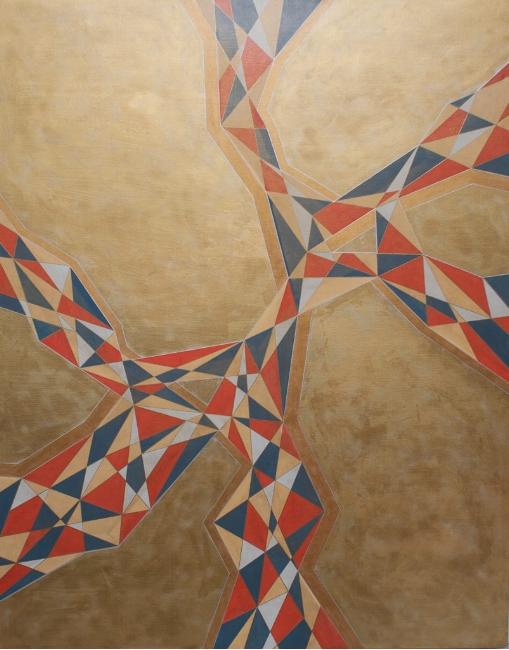 "MECHANICAL GOLD    acrylic on canvas    Size:  48"" x 60"""
