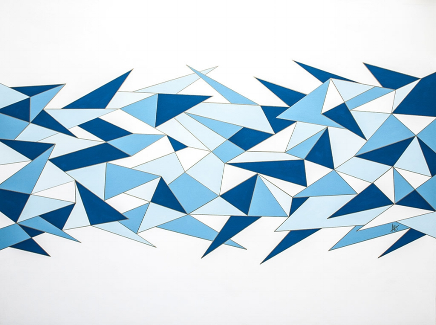 "BLUE SHARP    acrylic on canvas    Size: 36"" x 48"""