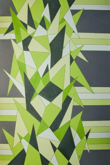 "GREEN SHARP    acrylic on canvas    Size:  24"" x 36"""