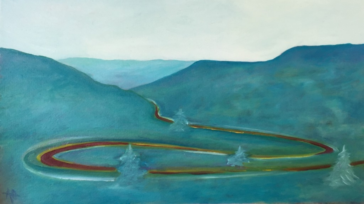 SHANIKO TO ANTELOPE WITH TREES    oil on arches paper