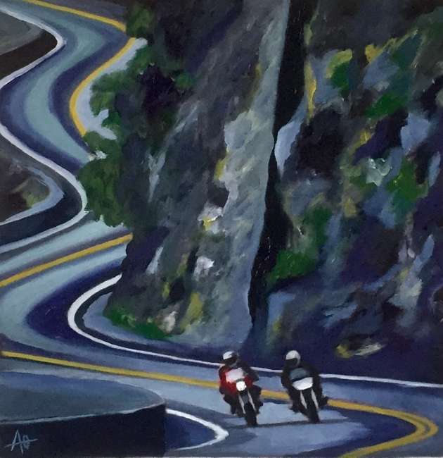 """TWO RIDERS     oil on arches paper    Size:  10.5"""" x 10.5"""""""