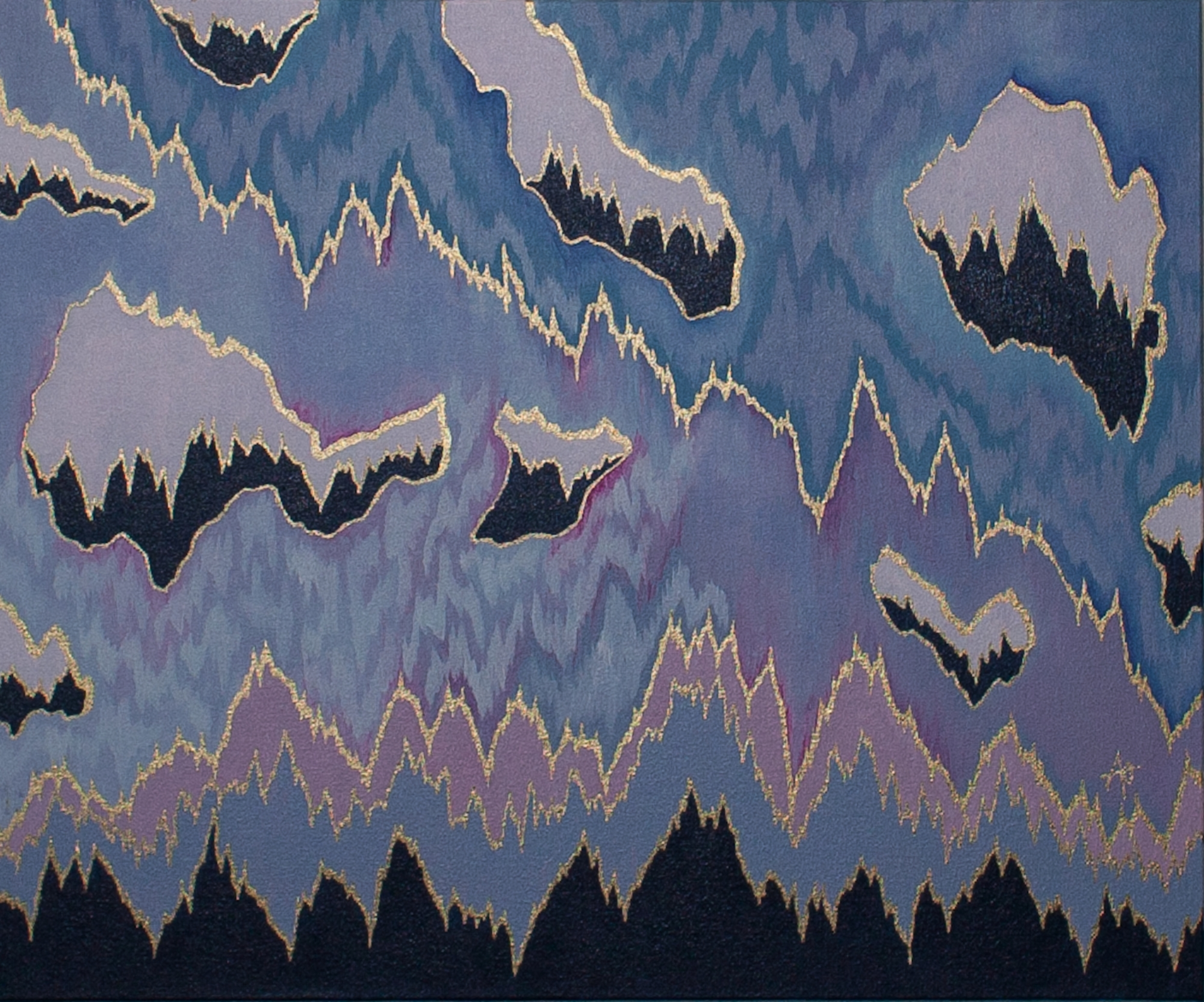"""BLUE MOUNTAINS    acrylic & metal leaf on canvas    Size:  20"""" x 24"""""""
