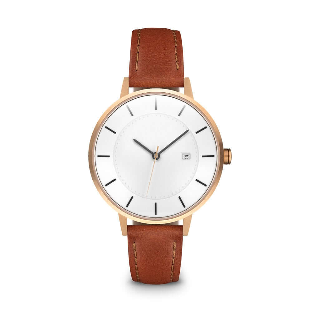 The Classic Watch, Rose Gold/Tan, $249 - A Linjer bestseller, the brushed rose gold case, dark brown accents, and domed glass set the watch apart from run-of-the-mill minimalist watch alternatives. Available in size 34mm and 38mm, this is a true