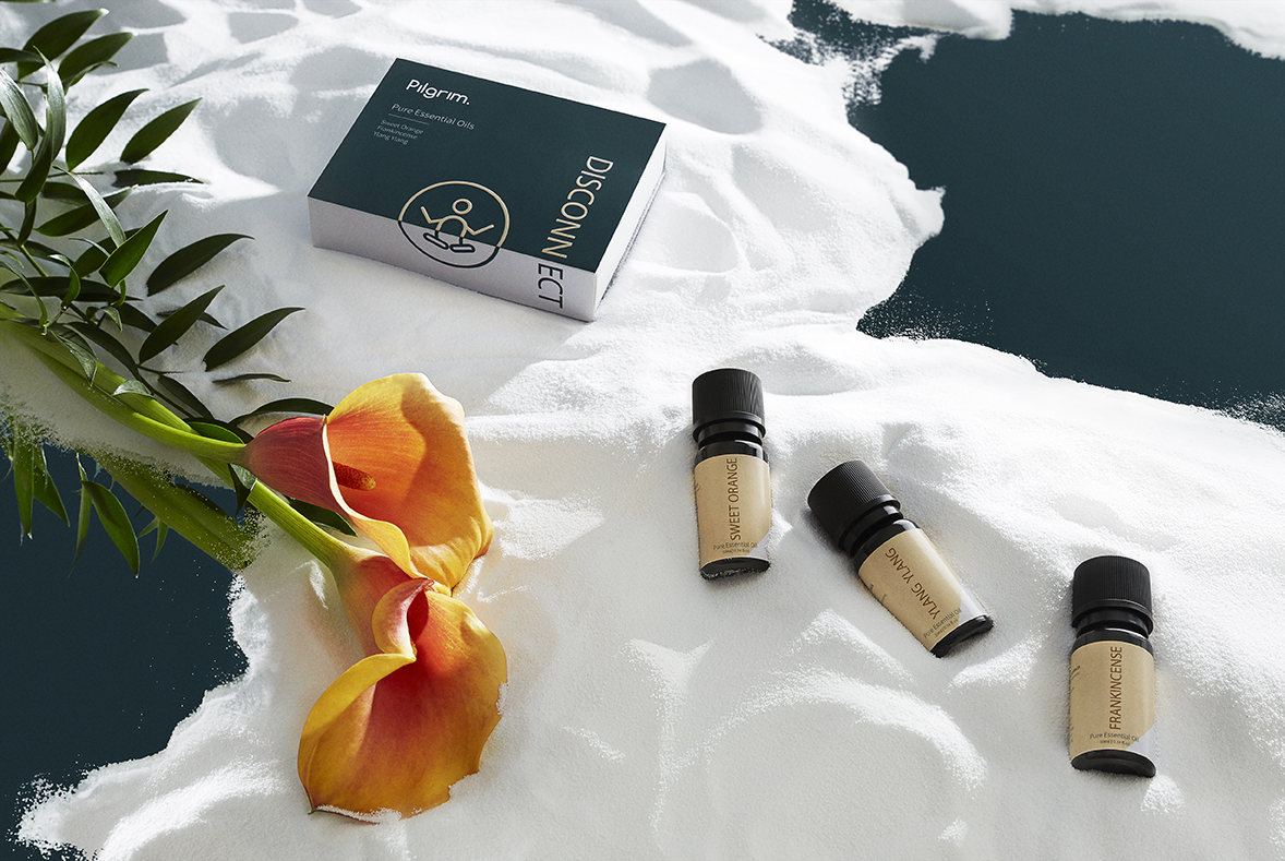 The Disconnect collection of essential oils. Image courtesy of Pilgrim Collection.
