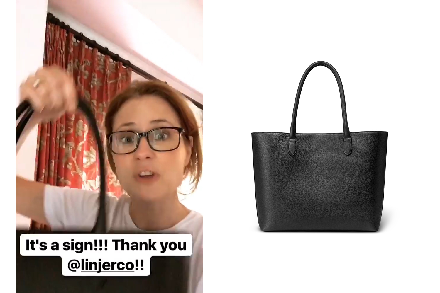 Jenna Fischer shares an Instagram story about receiving a Soft Tote she ordered from Linjer ($359).