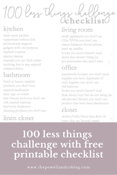 100 less things challenge with FREE printable checklist
