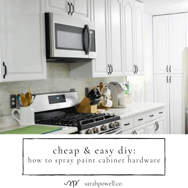 And Easy Diy How To Spray Paint Cabinet Hardware Sarah Powell