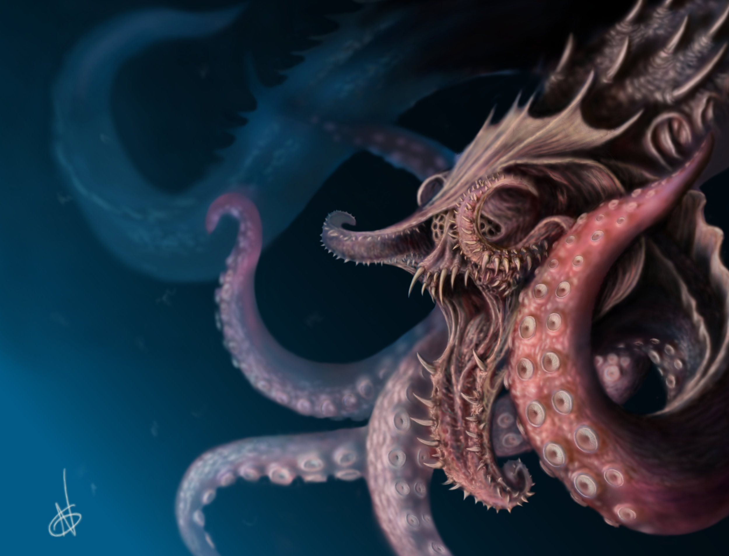 Early exploration of more deadly, alien, sea beasts, inspired by Lovecraft and the incredibly scary things that live deep in our oceans.