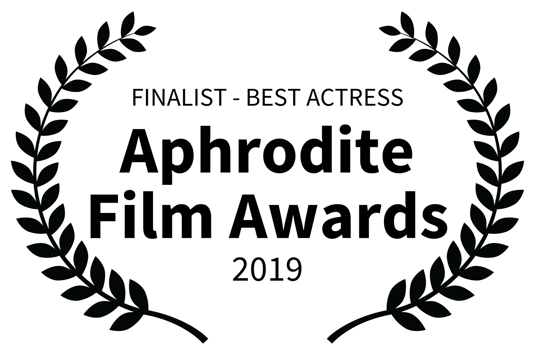 FINALIST - BEST ACTRESS - Aphrodite Film Awards - 2019 Black lettering.png