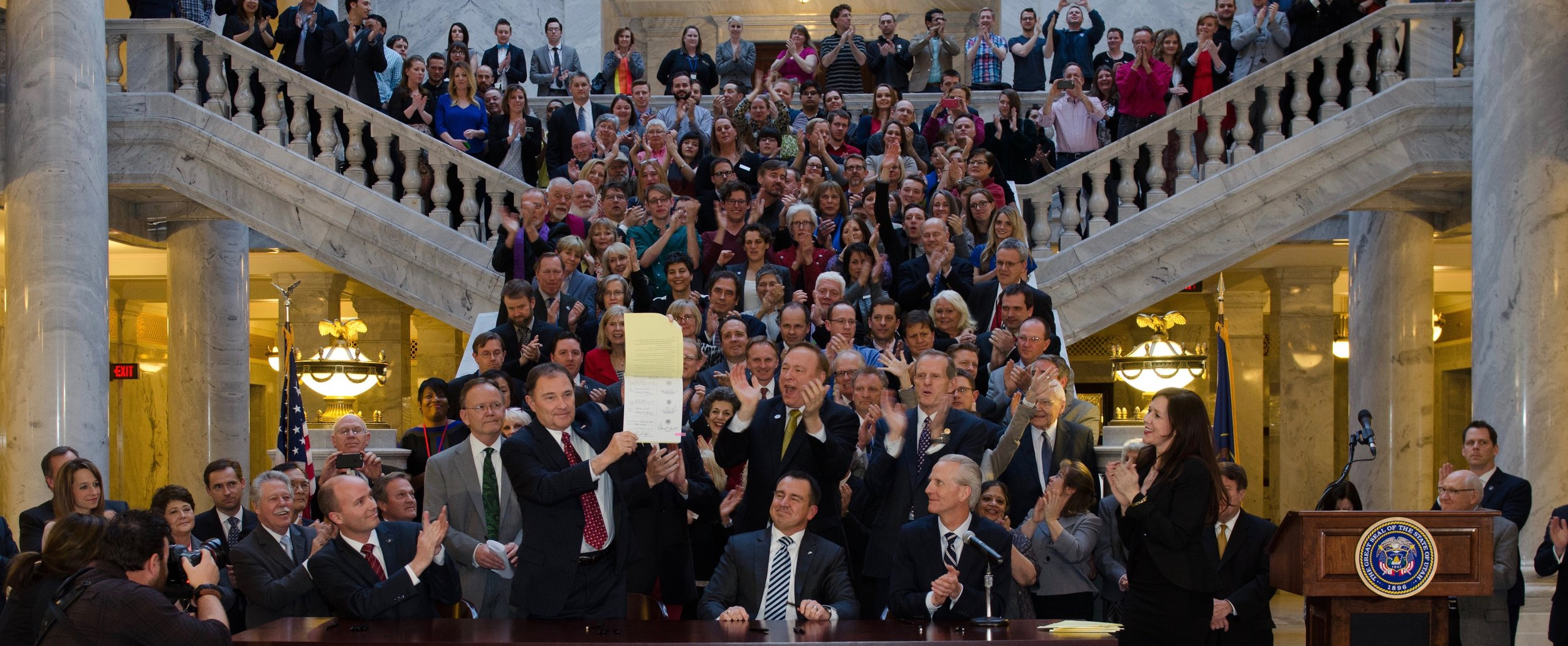 Signing of Utah's 2015 law simultaneously protecting the full LGBT community and persons of faith