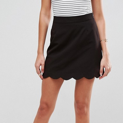 Tailored A-Line Mini Skirt with Scallop Hem