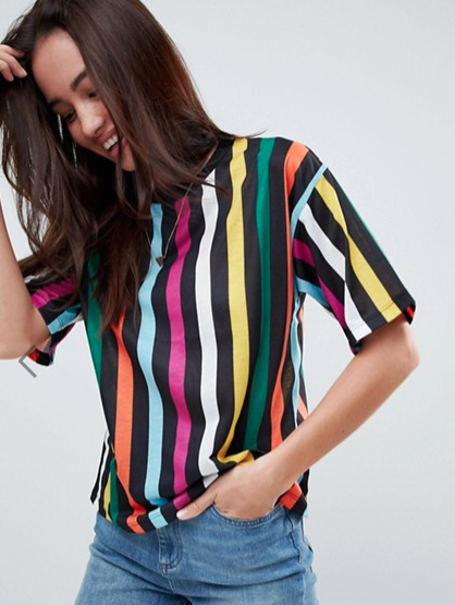 T-Shirt In Rainbow Stripe In Boxy Fit