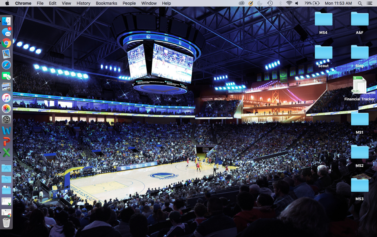 Notice the labeled folders to one side and the apps to the other! Makes for a clean and organized feel! (also peep my Golden State Warriors desktop…anyone else a fan?!)