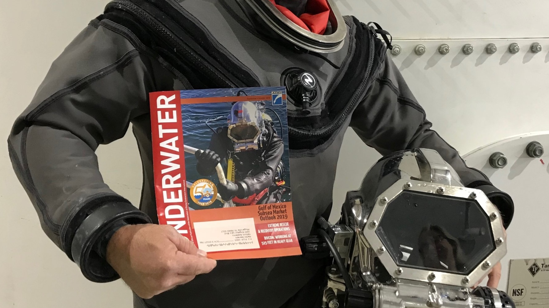 - Our underwater space training dive-suit made the cover of Underwater Magazine.