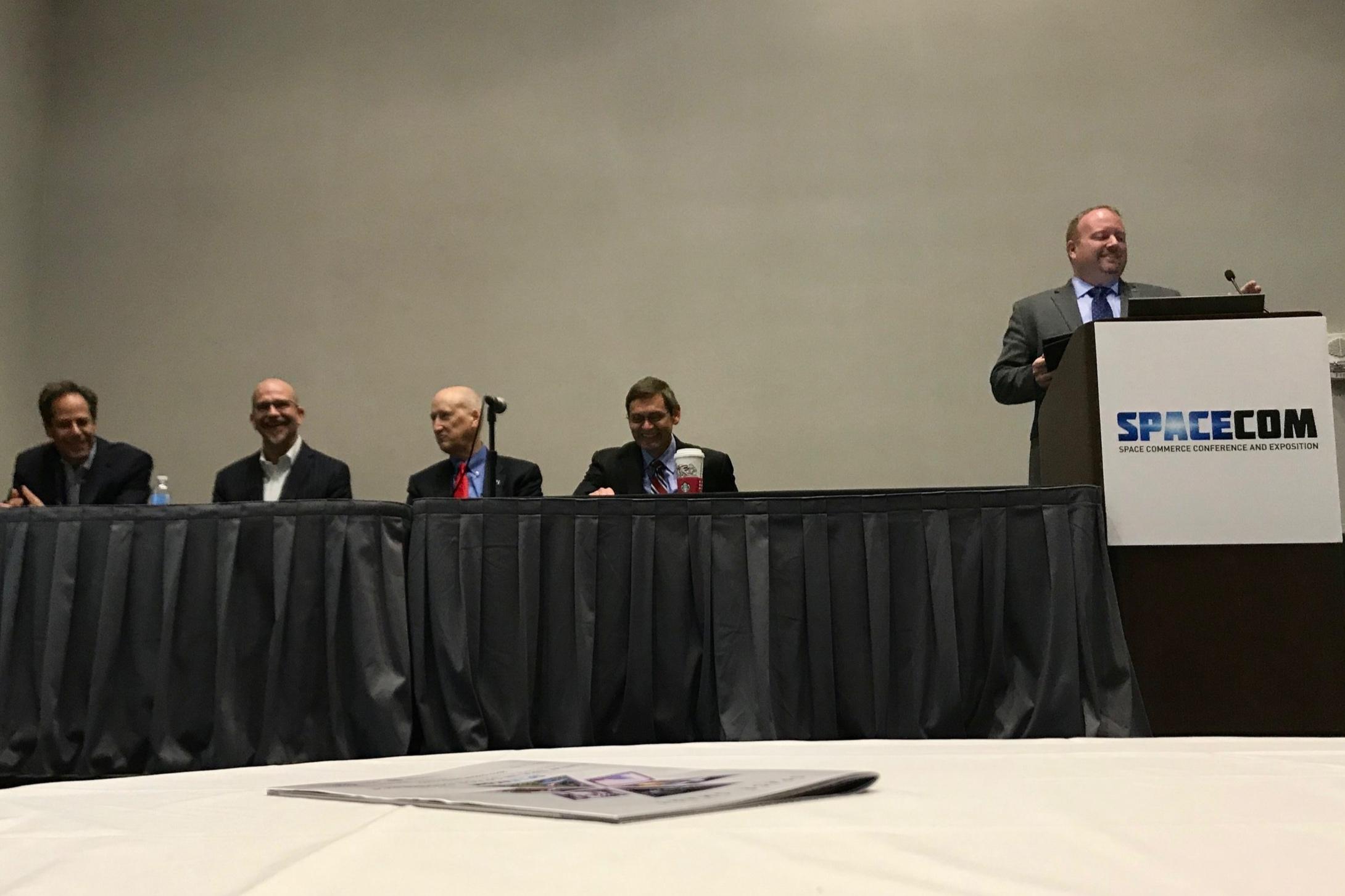 SpaceCom 2017 - Working in Space panel. Host Jason Crusan (NASA Advanced Exploration Systems) introduces panelists - Jeffrey Manber (NanoRacks), Barton Bollfrass (Opifex Global), Robert Richards (Orbital ATK),and John Elbon (Boeing).