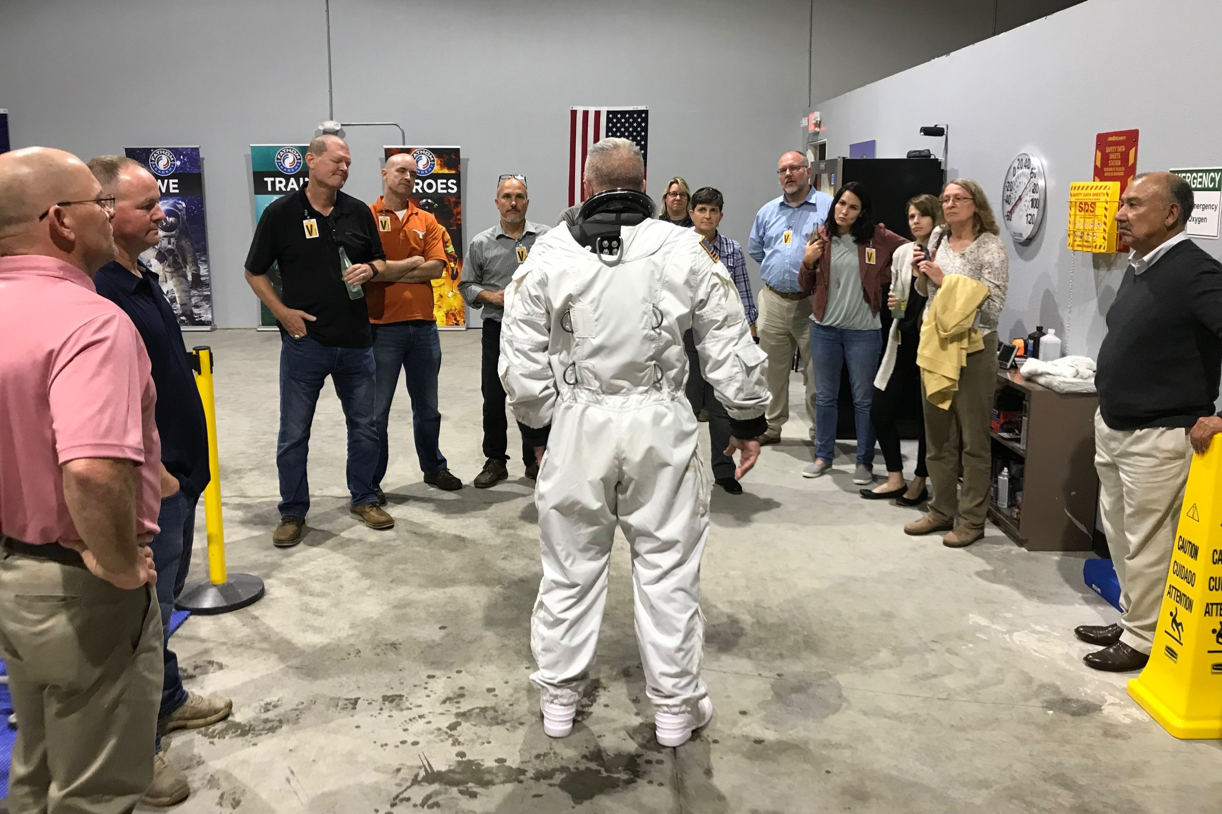 NBL team from NASA visits with our Head of Dive Operations.
