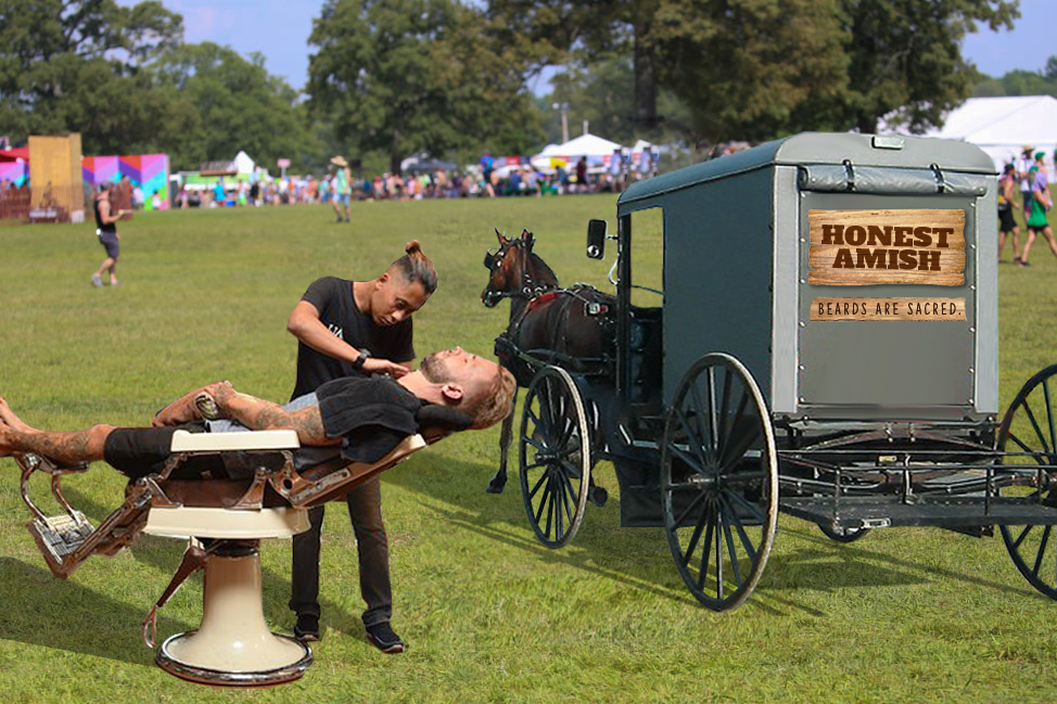 Where are beards stripped of all purity? Festivals. Where can they regain that purity? An Honest Amish beard care station.