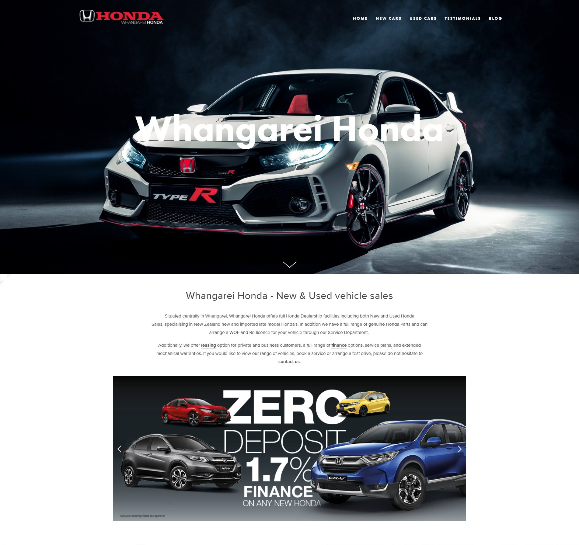 Whangarei Honda Website