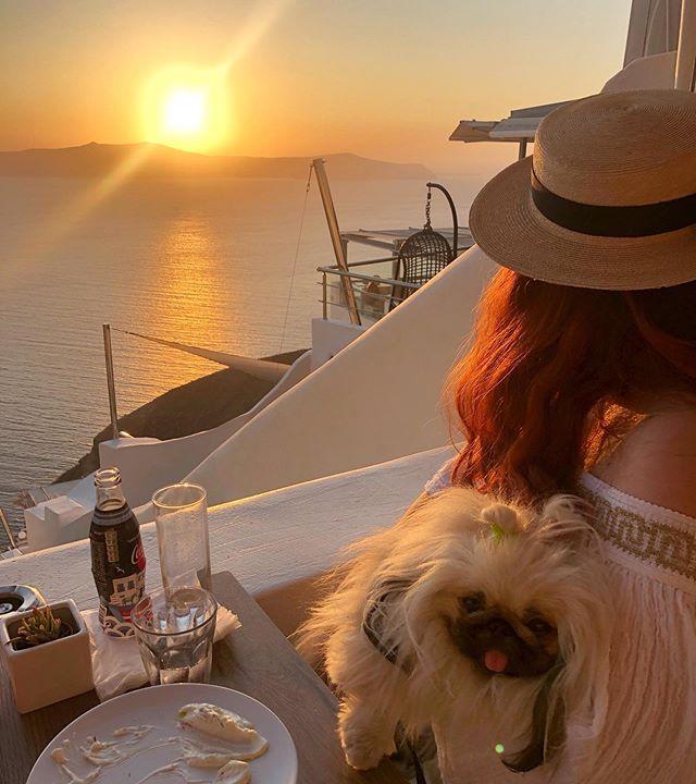 #nofilter Santorini sunset with my bestie 🌅