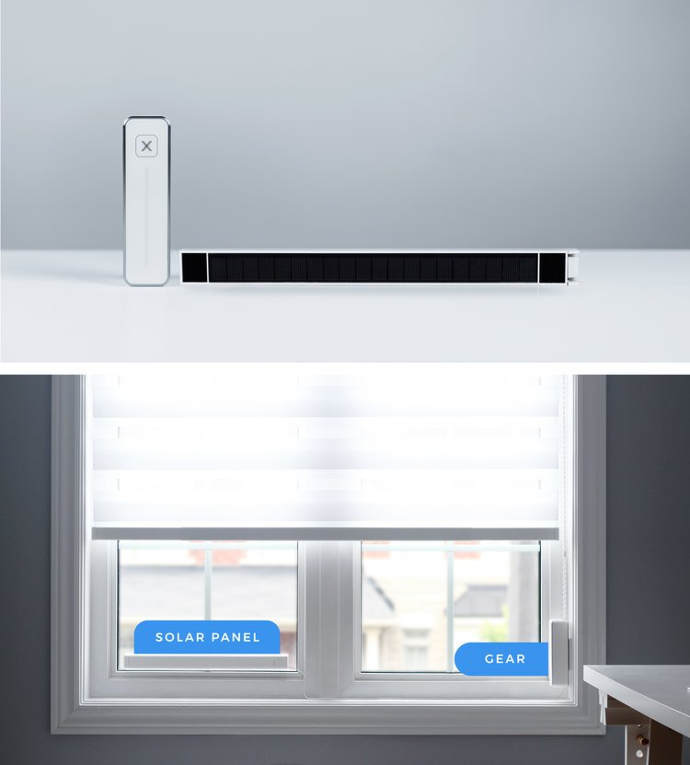 Solar Powered.For your convenience - Gear's internal battery is continuously recharged via a slim solar panel that fits discreetly on your window. Inside the solar panel are 12 AA batteries that acts as backup power.