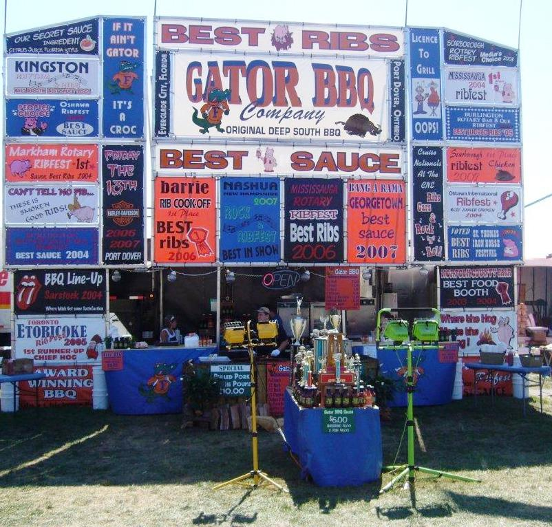 """Gator BBQ - Matt and Louise Smith acquired the rights to Gator BBQ in 2006. The family- run business with children Kurt, Nick, Aaron and Alexis is a successful unique business which continues to grow. Since 2006, the Smith family has grown their fleet from one to four rigs with a fifth rig in the construction stage. The family has attended various Ribfest shows across Ontario down into the United States and is now expanding into the Western part of Canada including the Kamloops Ribfest. The Smith Family has perfected award winning recipes including best sauce, best ribs, and overall best rig. Foods such as pulled pork, bbq chicken, """"to die for"""" ribs and beef ribs have become their trade mark along with side dishes such as baked beans, fries, and their own special seasoned gator tator tot. Soak up the entire Ribfest atmosphere and stop by the Gator BBQ to introduce yourself to a Smith Family member."""