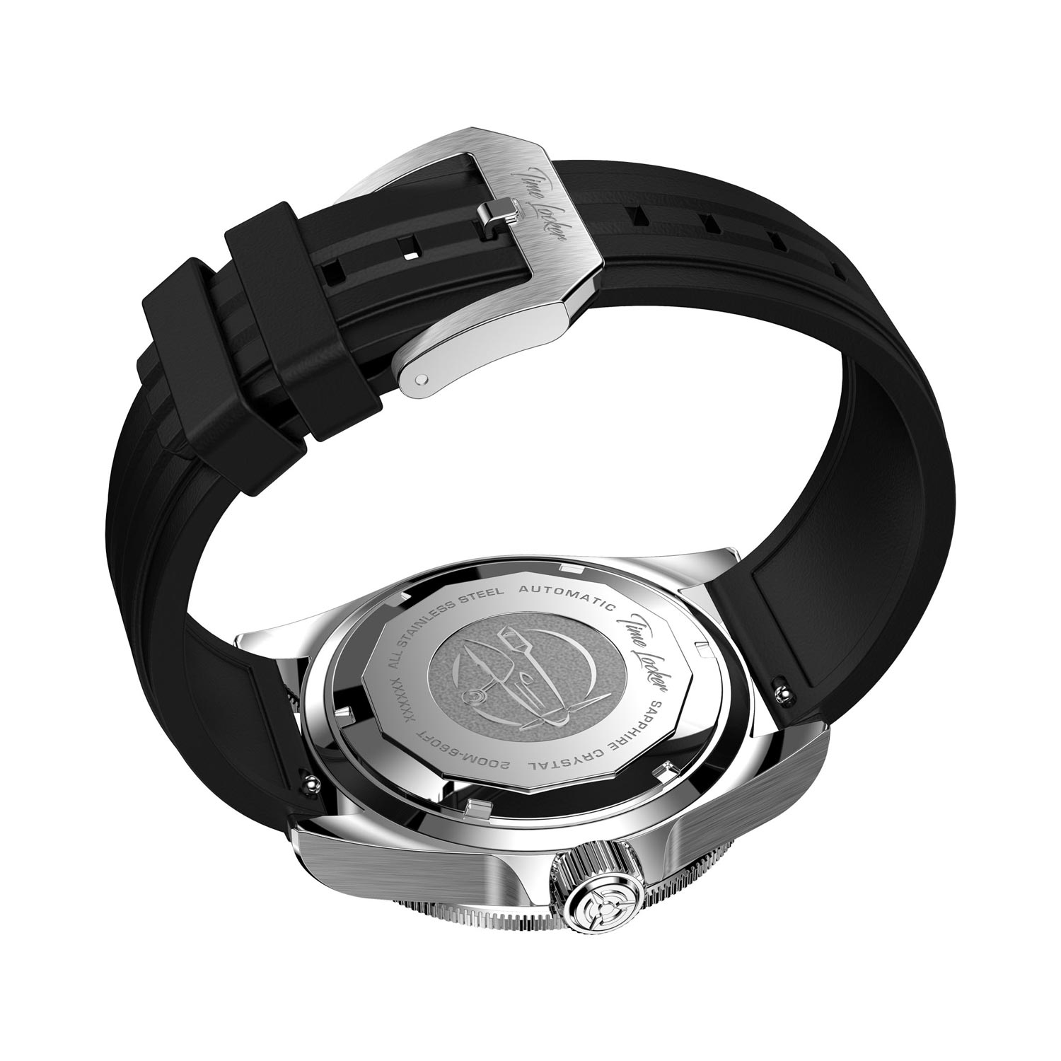 Time Locker dive watch Kermadec with black dial | rubber strap | back case