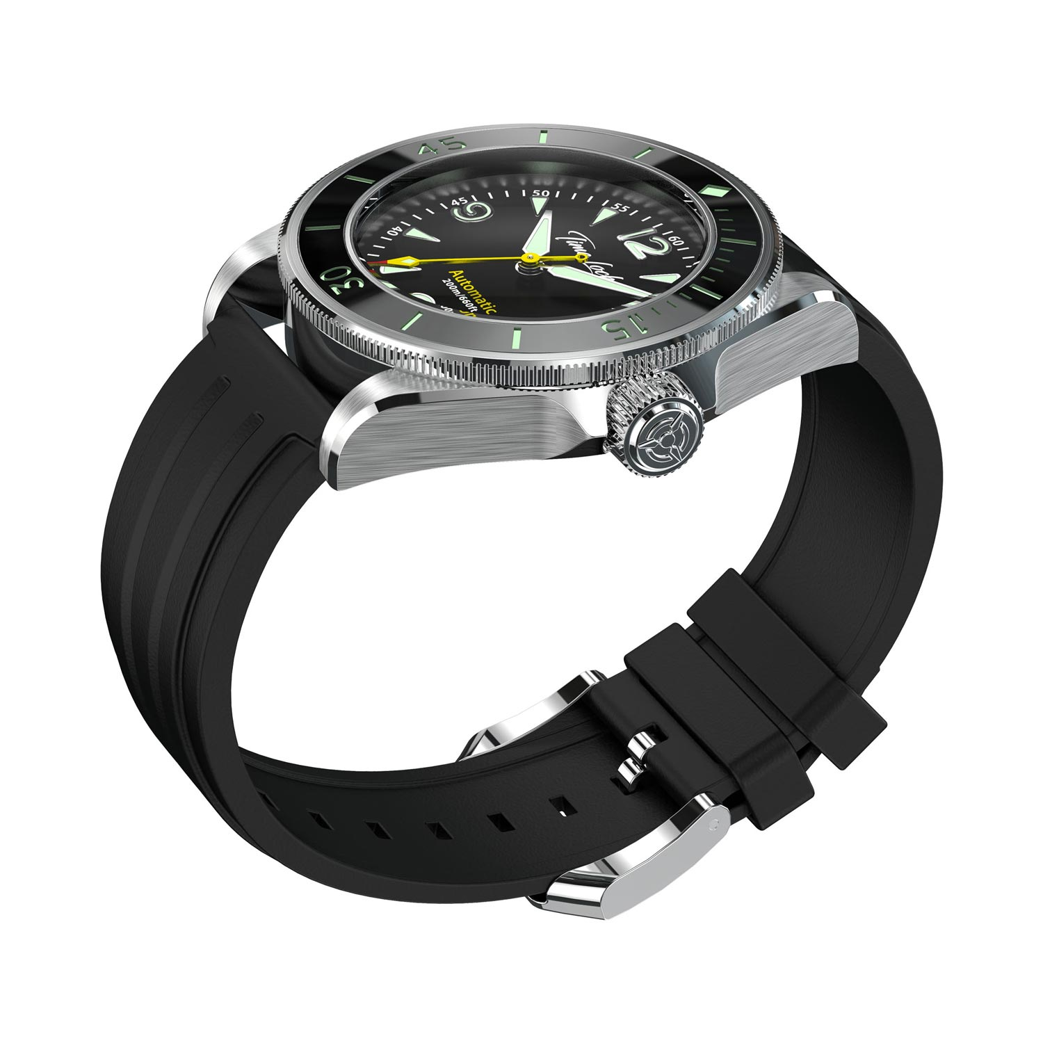 Time Locker dive watch Kermadec with black dial | rubber strap | side view