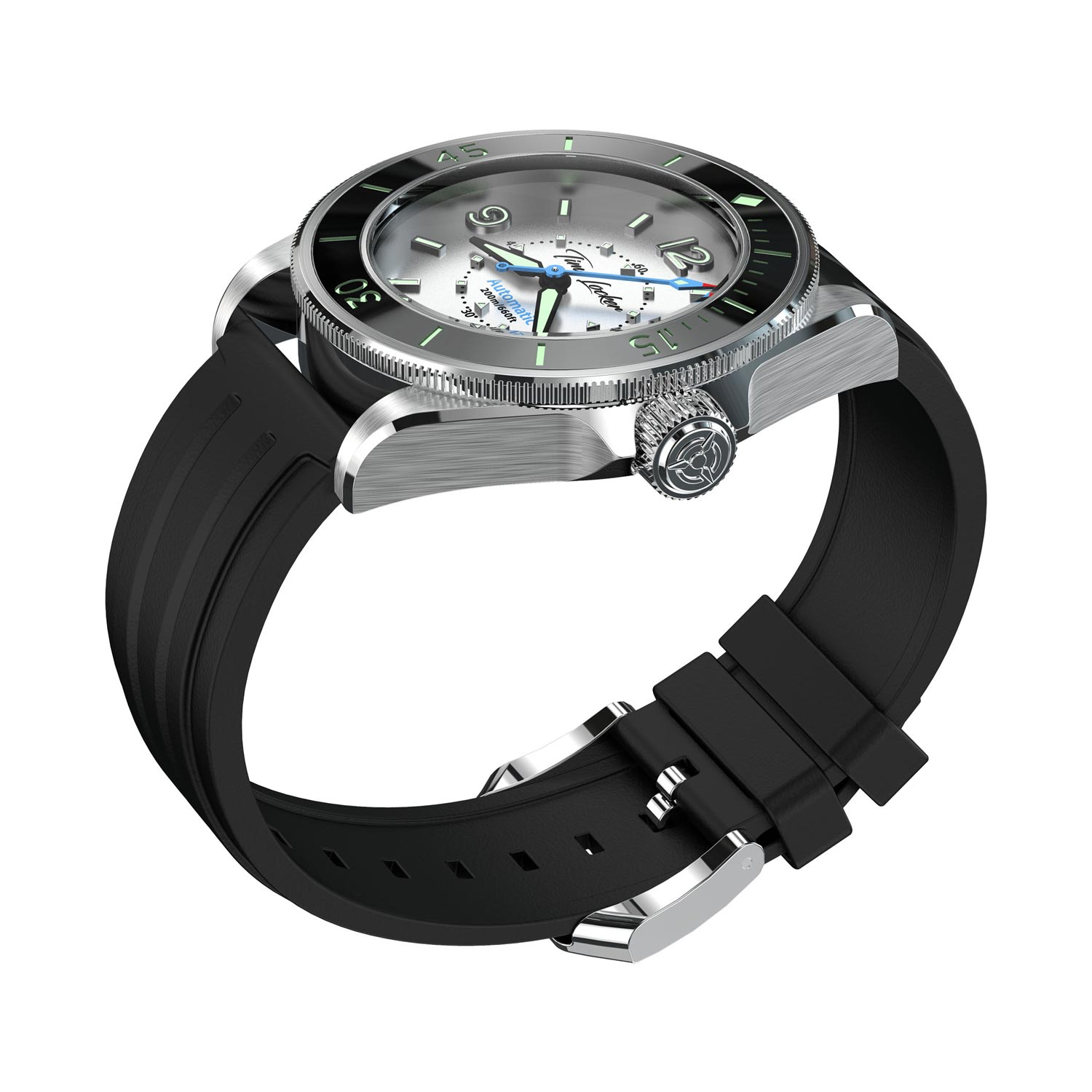 Time Locker dive watch Kouriles with white dial | rubber strap | side view