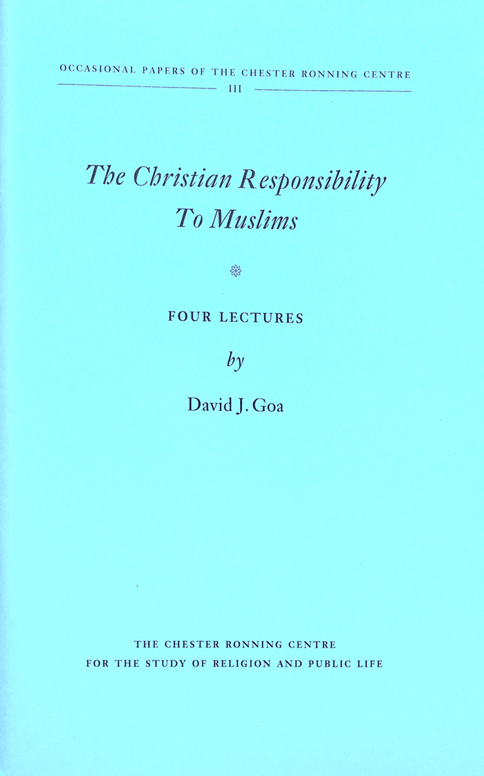 The Christian Responsibility to Muslims - Exploring the dialogue between Christian Orthodoxy and Islam in the ancient world, the current landscape of Muslim-Christian conversation and how Christians may think about the Prophet Muhammad.(Camrose, Alberta: Chester Ronning Centre for the Study of Religion & Public Life, 2014)Free Download