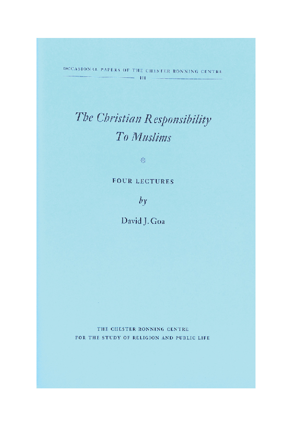 The Christian Responsibility to Muslims - Exploring the dialogue between Christian Orthodoxy and Islam in the ancient world, the current landscape of Muslim-Christian conversation and how Christians may think about the Prophet Muhammad.(Camrose, Alberta: Chester Ronning Centre for the Study of Religion & Public Life, 2014)