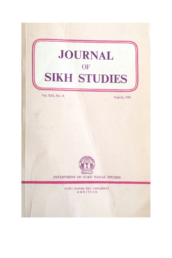 """Ritual, Word and Meaning in Sikh Religious Life - A Canadian Field Study"" - In the Journal of Sikh Studies.With Harold G. Coward."