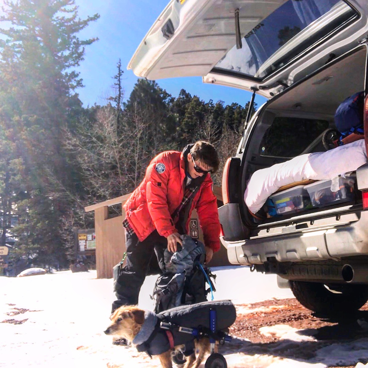 Me and Charlie preparing for a winter hike at Pike's Peak in Colorado.