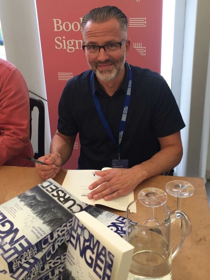 Signing session after an event at the Edinburgh Literary Festival in 2017.