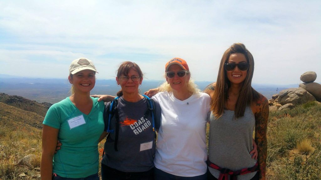 From left: Roxanne Warneke, Kathie Purkey, Deborah Pfingston, and Juliann Ashcraft on the Yarnell Hill Fire Staff Ride, April 5th, 2016. Photo courtesy of Juliann Ashcraft.