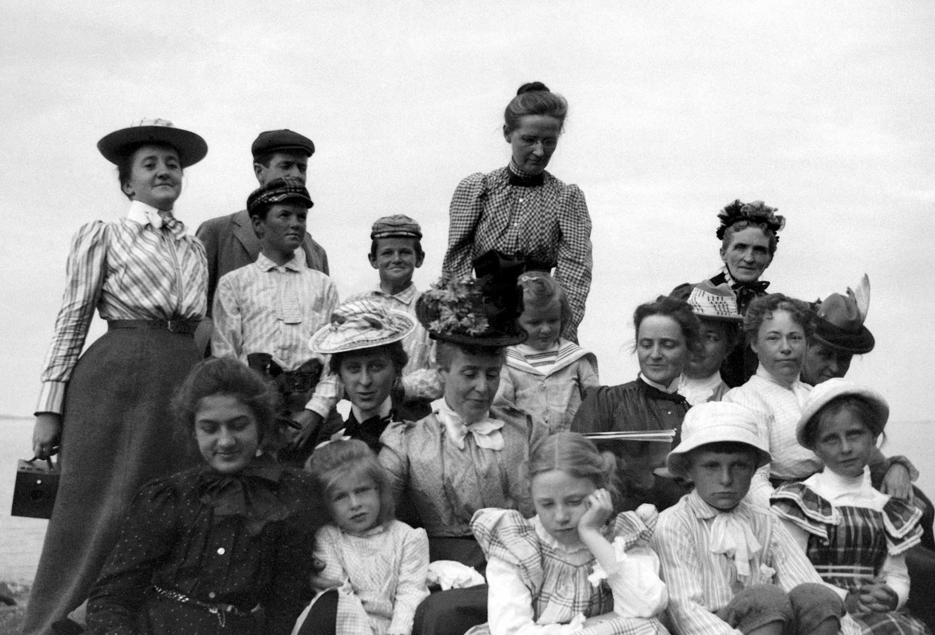 July 1900 - Picnic at Ogier Point. Theresa's sister Grace is in the middle with the white hat, and their mother, Mrs. Parker, is at the far top right.