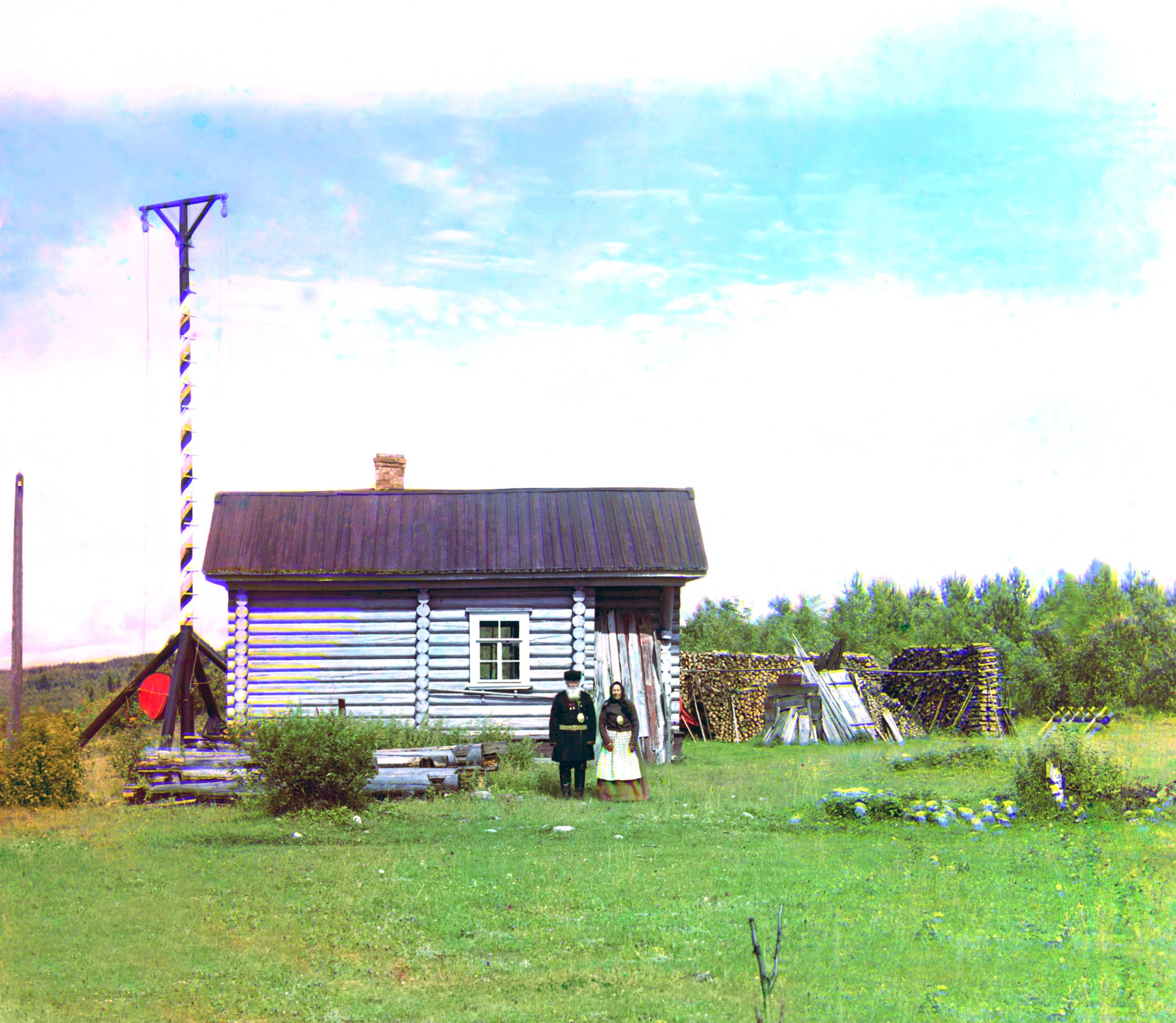 1909 - Signal tower near the entrance to Sigovets rapids.