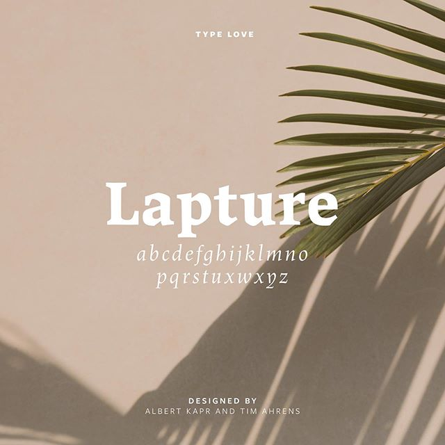 Can't resist another type love post. My heart is swooning over Lapture lately. It's bold, strong, unique and I'm just waiting for the perfect project to use it for. ✨  Lapture is available on Adobe Fonts and is designed by Tim Ahrens and Albert Kapr of Just Another Foundry. 📷: by our pals at @moyo.studio
