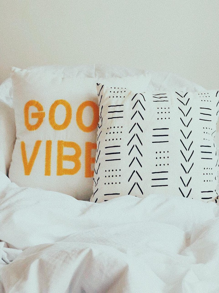 WE LOVE A   PILLOW   WITH A MESSAGE OR WITH A CUTE PRINT.  THEY ARE FUN AND ADD SOME COOLNESS TO COUCH OR BED. WE SWITCH THEM UP REGULARLY. THESE ONES THOUGH HAVE STUCK AROUND FOR A WHILE NOW. - T