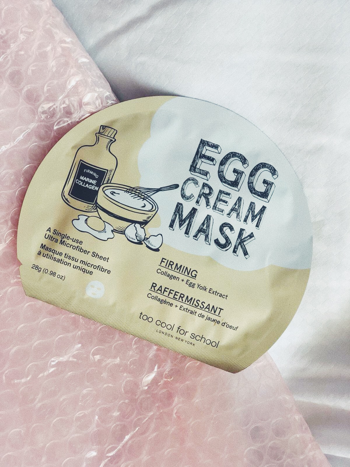 THIS ONE I USE WHEN I FEEL LIKE, OMG - MY FACE LOOKS OLD(ER): THIS   EGG CREAM SHEET MASK  FROM TOO COOL FOR SCHOOL IS THEIR BESTSELLER AND COMES AS AN EASY SHEET MASK AND LEAVES YOU WITH A GLOW FACE AND A WOW. -T