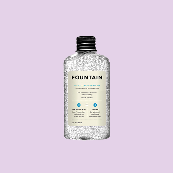 THIS DOESN'T ONLY LOOK DOPE BUT ADDS DOPENESS TO YOUR SKIN. THE   HYALURONIC MOLECULE BY FOUNTAIN   IS A CONCENTRATED BEAUTY SUPPLEMENT THAT LEAVES YOUR SKIN PLUMP, IS INFLAMMATORY AND HYDRATING. IT CONTAINS WELL, CONCENTRATED VEGAN HYALURONIC ACID AND IS GINGER FLAVORED. TAKE TWO TEASPOONS, LOOK LIKE TWO MILLION BUCKS. - J