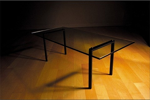 Dinning Table: glass top powder coated metal legs