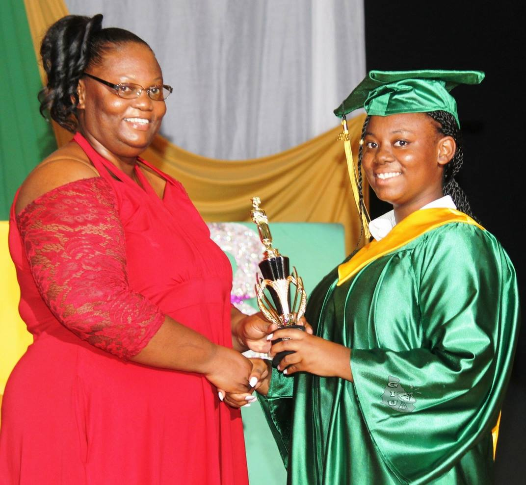 Valedictorian Shekana Irish  Photo Credit: Government Information Unit Facebook Page